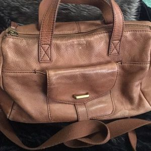 Pre loved brown leather Fossil bag